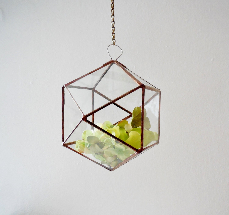 Hanging Glass Terrarium glass planter polyhedron triangular  Etsy