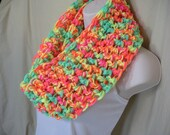 Neon Bright Multicolor Cowl Infinity Circle Scarf Neckwarmer
