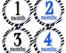 Baby Monthly Stickers Baby Boy Zebra Blue and Zebra Print Perfect Baby Shower Baby Boy Safari Nursery Theme