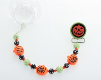 Halloween Orange & Green Jack-o-Lantern Beaded Pacifier Clip