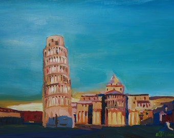 Leaning Tower of Pisa with Cathedral Square Italy - Limited Edition Fine Art Print
