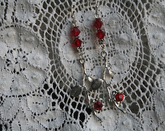 Delicate silver DOGWOOD branch earrings with red accents.