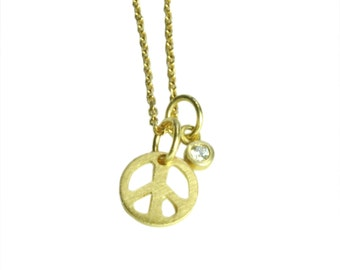 Solid 14K Gold and Diamond Peace Sign Necklace