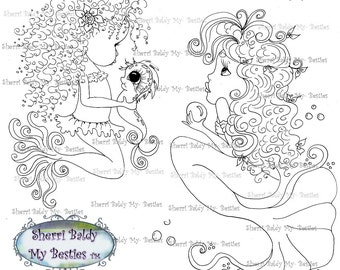 INSTANT DOWNLOAD Digi Stamps Big Eye Big Head Dolls Digi Bestie Mermaids By Sherri Baldy