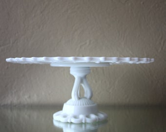 Vintage Milk Glass Cake Stand