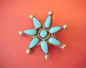 Lovely Vintage Native American Star Flower Brooch Set with Turquoise