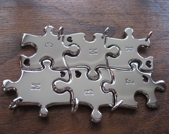 Six Puzzle Pendants with an Initial and heart