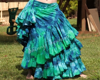 Hand tie dyed belly dance skirt, renaissance, bohemain, gypsy, ATS,ITS