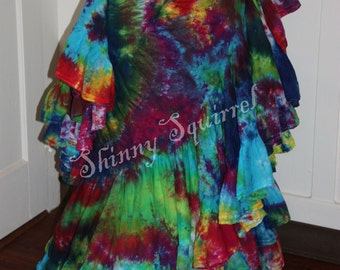 Belly dance skirt-tie dyed-25 or 15 yard- renaissance,tribal bellydance, fusion,ATS,SCA