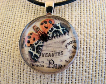 Resin Pendant, Butterfly, Orange, White, Black, Round, 1 inch, Necklace, For her, Glitter