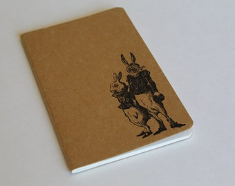 Mini Two Dapper Hares Rabbit Journal