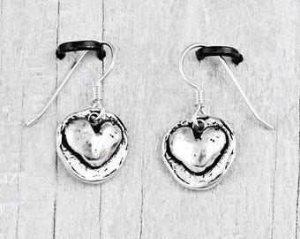 Big Heart Earrings -Romantic Earrings - Cowgirl Jewelry - E772