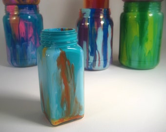 Colorfully Painted Glass Potion Jar
