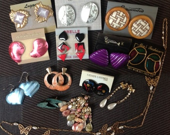 Vintage earring lot - 16 pairs and a necklace