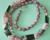 Gemstone Jewelry Necklace - Rhodochrosite, Rhodonite and Smoky Quartz Gemstone Beaded Necklace
