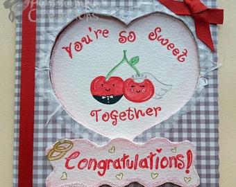 Handmade/Painted Kawaii Cherries Wedding Card