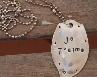 JE T'AIME hand stamped Spoon Necklace Vintage on Ball Chain LONG