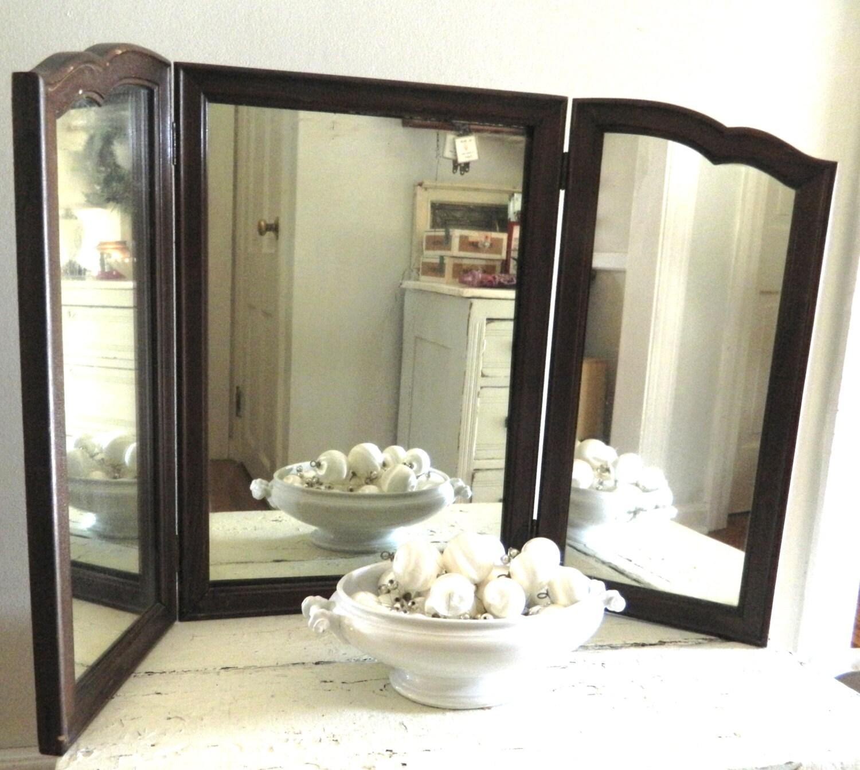 Vintage Tri Fold Mirror Wood Frame