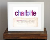Customizable Nursery Art with Name Meaning - modern colors, purple and pink, girly decor, thoughtful gift, present for new mom - 8 x 10