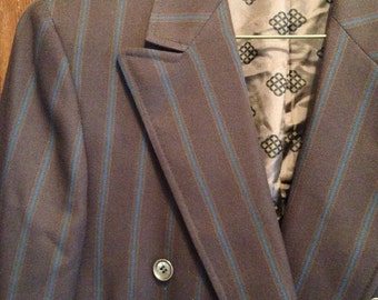40's, 50s double breasted brown suit jacket with blue pinstripes.