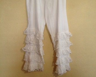 White ankle length bloomers, pantaloons or steampunk pants trim with lace