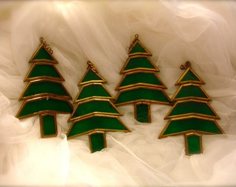Vintage stained glass Christmas tree ornament, Christmas tree ornament , Stained glass Christmas tree ornament (4 pieces)