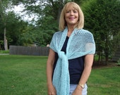 Knit  Scarf Lace in Green Mint/Aqua. Woman. Wide. Long. Summer/Spring.Cotton.Wrap.