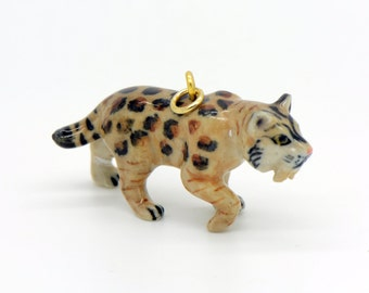 1 - Porcelain Saber Tooth Tiger Pendant Hand Painted Glaze Ceramic Animal Small Ceramic Bead Jewelry Supplies Little Critterz (CA205)