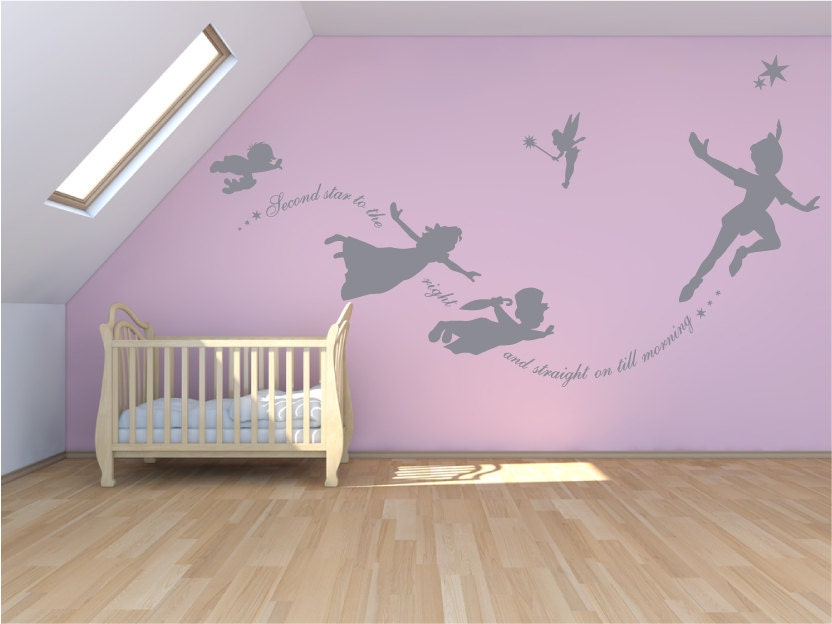 Peter Pan Wall decal sticker custom mural second star to the
