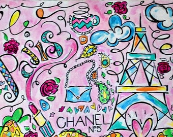 REDUCED Paris Themed Painting for Nursery | Eiffel Tower Art