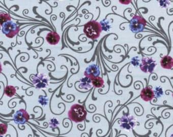 Benartex Fabric - Papillon - Petite Fleur Gray - Choose Your Cut 1/2 or Full Yard