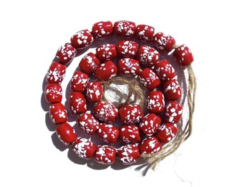 VINTAGE: 18 Red Spotted Trade Glass Beads - Red Beads - Large Hole Beads - (5-A2-00003542)