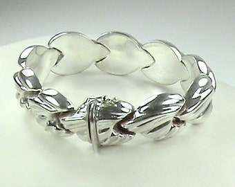 Conch Shell Shaped Sterling Silver Italian Bracelet, Big Link Puffed Heart Designer 925 Sterling Silver Bracelet, Chunky Art Deco 925 Hearts