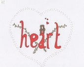ON SALE Heart Graphic Illustration Art Print - ACatLikeCuriosity