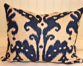 Indigo Blue and Oatmeal Ikat Pillow Cover / 16 X 20 / Designer Pillow Cover