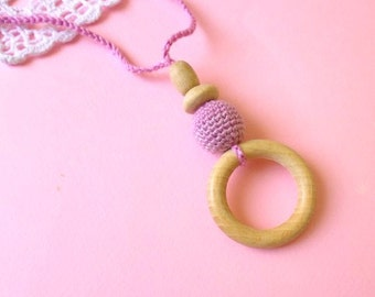 Pink Teething Necklace with wooden ring-Breastfeeding Necklace-Eco-Friendly-Mother's day