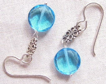 Blue Quartz 10mm and Sterling Silver Earrings