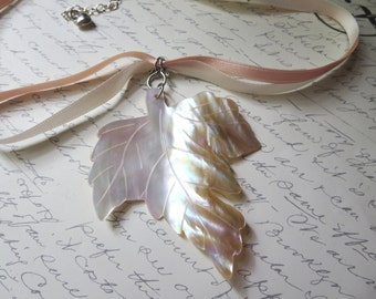 Peach and Beige Mother of Pearl Maple Leaf Pendant with Sterling Silver and Satin Ribbon