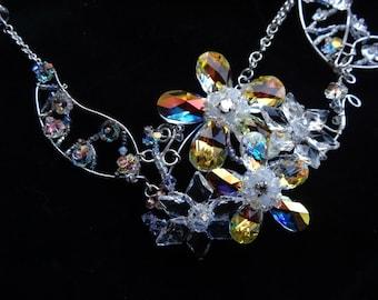 Wire Wrapped necklace, Swarovski crystal Flowers