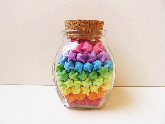 glass jar of rainbow origami lucky stars rainbow star jar