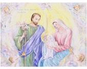 Religious Art, Holy Family ,Nativity Scene,  Christmas Religious Art, Christian Art, 11x14 art print