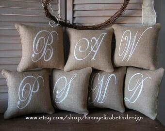 "Sm. Burlap Initial Pillow FREE SHIPPING 8""x 8""- Baby Shower Gifts- Pillows- Decorative Pillows- Burlap Pillow-  Accent Pillow- Letter Pillow"