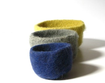 WOOLY FELTED BOWLS - three felted nesting bowls - ash grey, sunshine yellow, navy blue