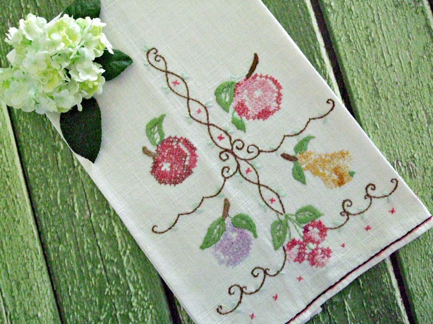 Embroidered Kitchen Towel Tea Towel Vintage By TheSweetBasilShoppe