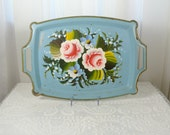 Vintage blue tole tray handpainted with pink and blue flowers