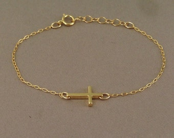 Tiny Gold Sideways Cross Bracelet Horizontal
