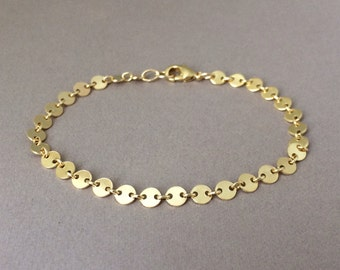 Circle Disc Link Bracelet also in Sterling silver and Rose Gold Fill