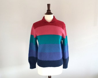 SALE Striped Vintage Sweater Stripes Rainbow Knit Wool Jersey Jumper Pull Over 80s Sweater Small Medium Top VTG Retro Hippie Gypsycloth