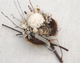 Woodland Bird Nest Alternative Ring Bearer Pillow Twig and Sola Flower Rustic Made to Order