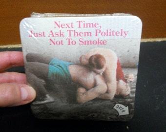 Vintage Drink Coasters Funny Barware Cardboard Bar Coasters RJ Reynolds Non Smoking Wrestlers Smoker Gift